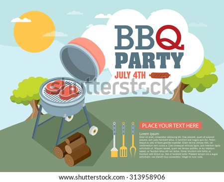 Invitation card on the barbecue - stock vector