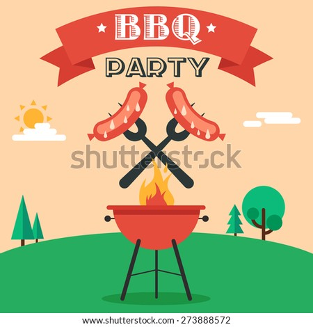 Invitation card on the barbecue. Grilled sausages on forks on the background of the natural landscape. Illustration in a flat style. Fully editable vector. - stock vector