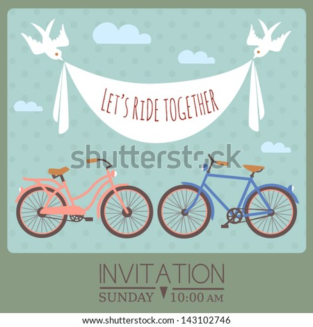 Invitation card template with bicycles and banner carried by birds, - stock vector
