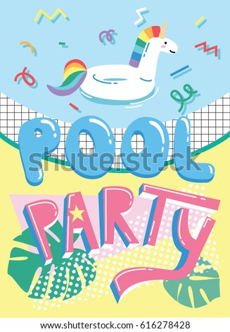invitation card template cute cartoon pool stock vector royalty
