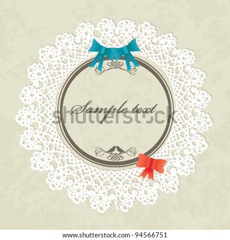 Invitation card / Valentines card - vintage design, vector - stock vector