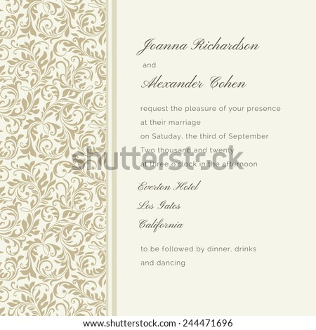 Invitation card. Wedding invitation - stock vector