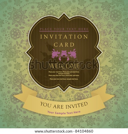 Invitation card with a flower pattern