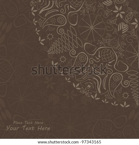Invitation Card with Abstract Ornamental Element and Place for Text. Vector Illustration - stock vector