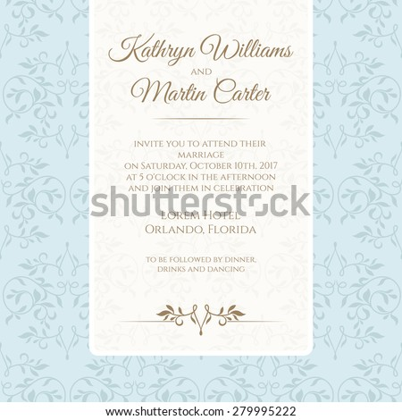 Invitation card with blue seamless pattern. Wedding invitation. Template cards.