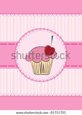 Invitation card with cake - stock vector