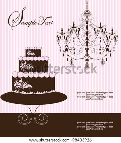 invitation card with cake on floral background