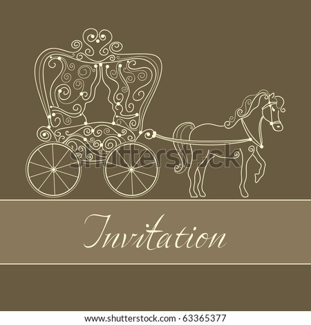 invitation card with carriage - stock vector