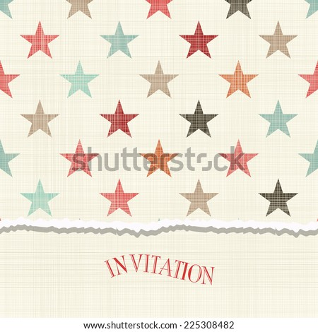 invitation card with colorful stars - stock vector