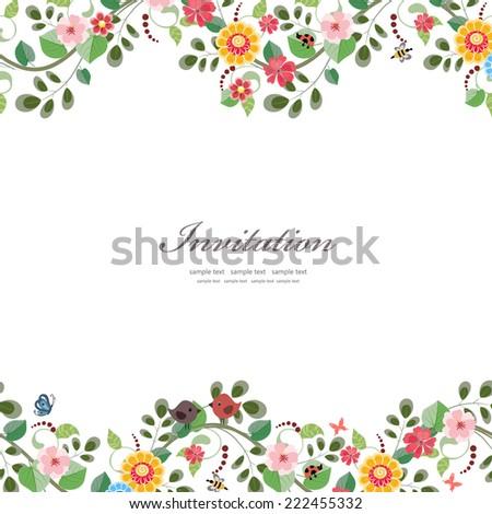 Cute Flowers Border Vector Invitation Wedding Stock Vector