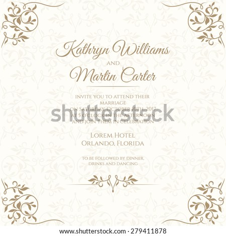 Invitation card floral seamless pattern wedding stock vector hd invitation card with floral seamless pattern wedding invitation template cards stopboris Gallery