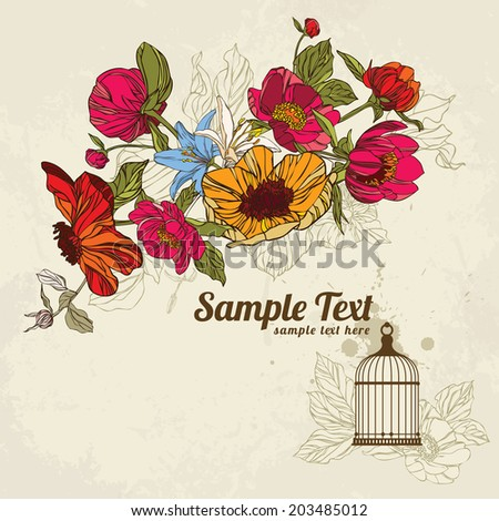 invitation card with flowers in and birdcage vector eps10 - stock vector