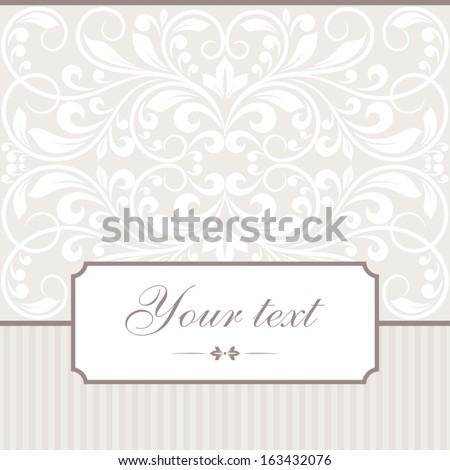 Invitation card with frame.  - stock vector