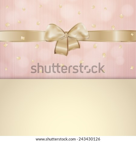 invitation card with gold ribbon and bow with pink and beige background with falling confetti - stock vector