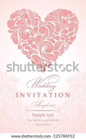 Invitation card with heart - stock vector