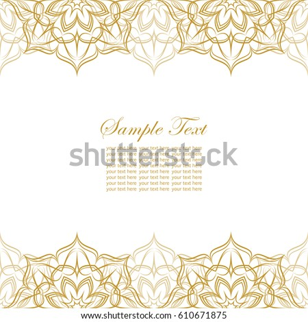 Invitation card lace ornament gold lace stock vector hd royalty invitation card with lace ornament gold lace on white background with place for text stopboris Images