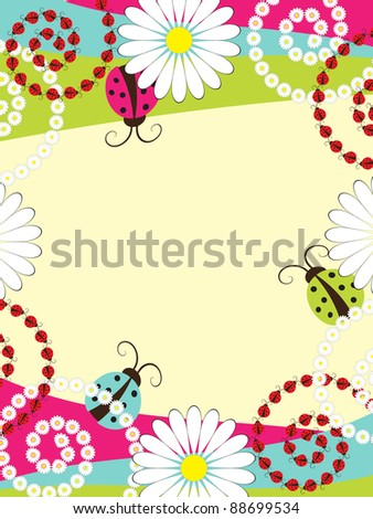 Invitation card with ladybirds - stock vector