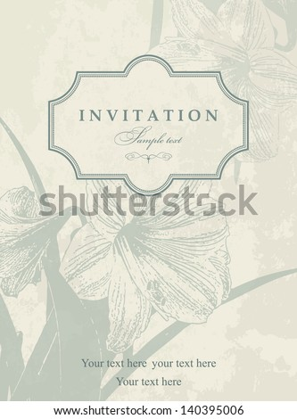 Invitation card with lily blue and beige - stock vector