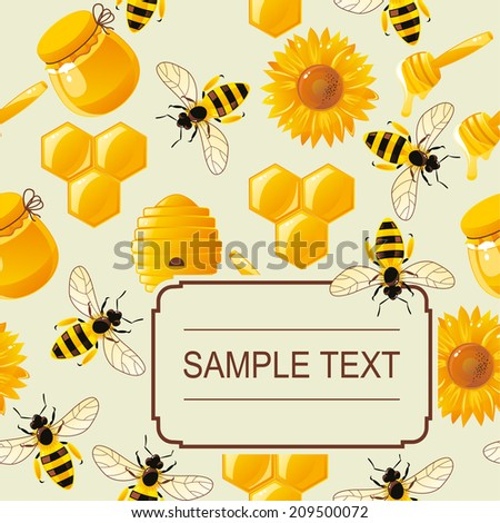 invitation card with lively cartoon bees and honey on seamless pattern