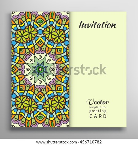Invitation Card with ornate border pattern. Decorative abstract background, frame element. Luxury postcard, mandala texture for Wedding, Bridal, Valentine's day, greeting cards or Birthday Invitations - stock vector