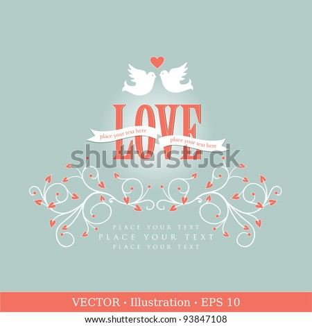 Invitation card with pigeons. Wedding or Valentine`s Day. Vector illustration - stock vector