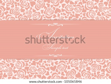 Invitation card with pink roses - stock vector