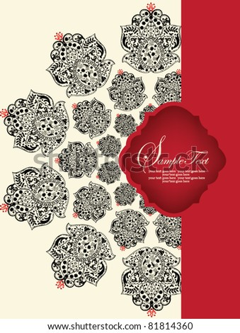 invitation card with red and black elements - stock vector
