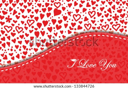 invitation card with red hearts. eps10 - stock vector
