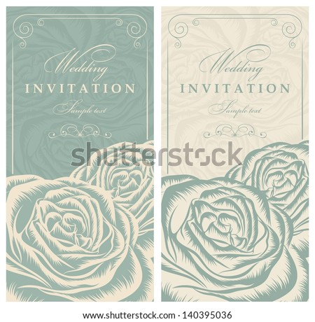 Invitation card with roses green and beige - stock vector