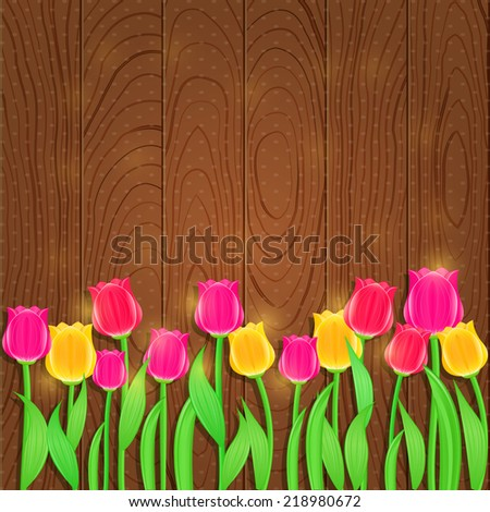 Invitation Card with Tulip Flowers on Wooden Background. Vector Floral Background - stock vector