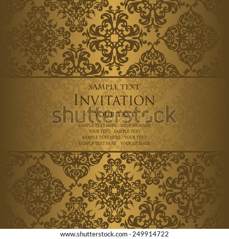Invitation card with vintage background         - stock vector