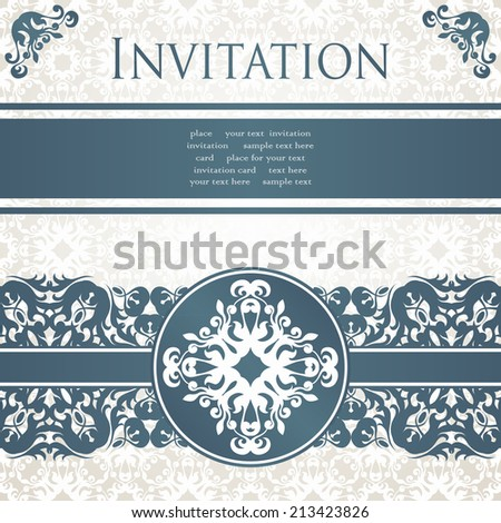 Invitation card with vintage borders. Retro style. Seamless background, pastel colors      - stock vector