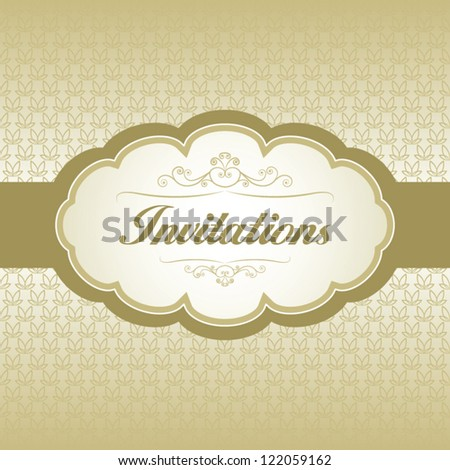 Invitation card with vintage ornament background.