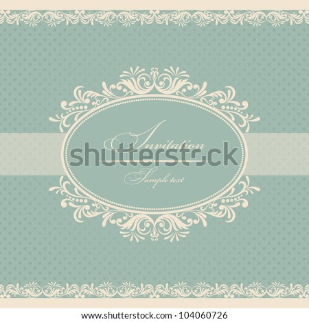 Invitation cards baroque blue - stock vector