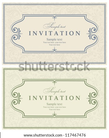 Invitation cards baroque blue, green - stock vector
