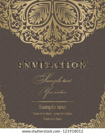 Invitation cards baroque gold, brown - stock vector