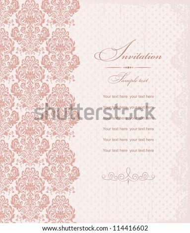 Invitation cards baroque pink - stock vector