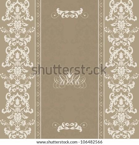 Invitation cards damask - stock vector