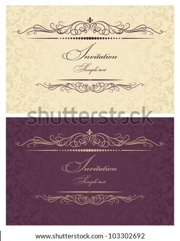Invitation cards gold and burgundy - stock vector