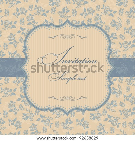 Invitation cards in a retro style with blue roses - stock vector
