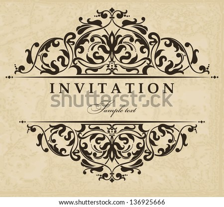 Invitation cards in an old-style beige and brown - stock vector