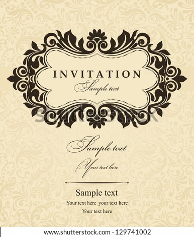 Invitation cards in an old-style brown - stock vector