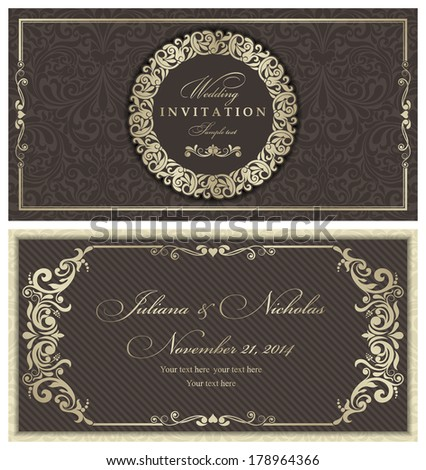 Invitation cards in an old-style brown and gold   - stock vector