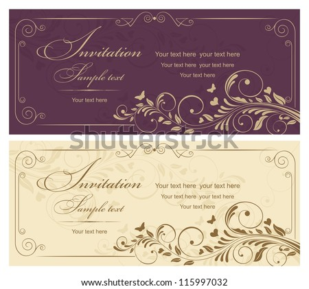 Invitation cards in an old-style gold and burgundy - stock vector