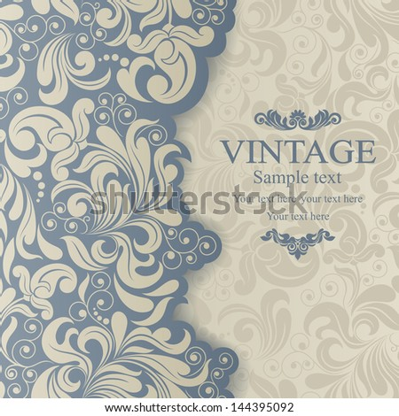 Invitation cards in an vintage-style blue - stock vector