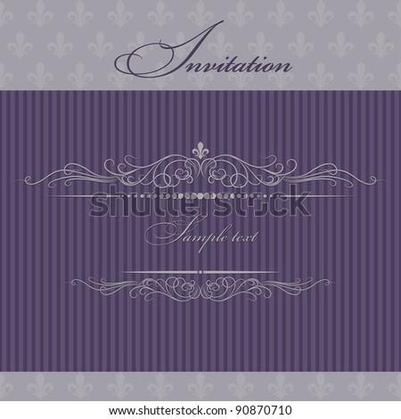 Invitation cards purple - stock vector