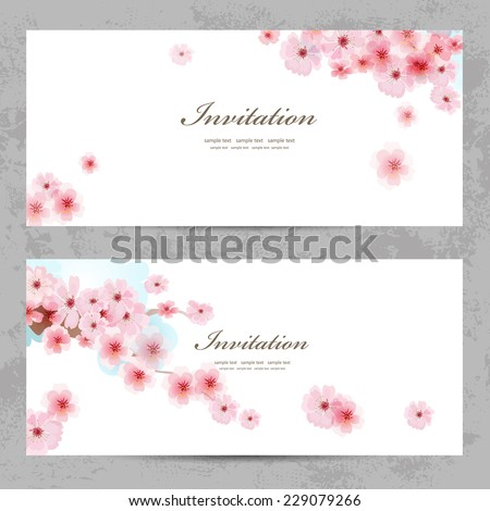 invitation cards with a blossom sakura for your design - stock vector