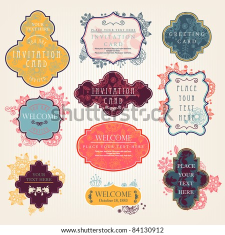 Invitation cards with a floral pattern - stock vector