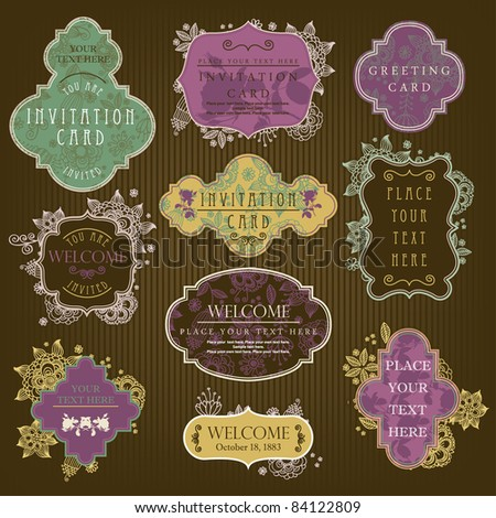 Invitation cards with a flower pattern - stock vector
