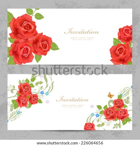 invitation cards with a red roses for your design - stock vector